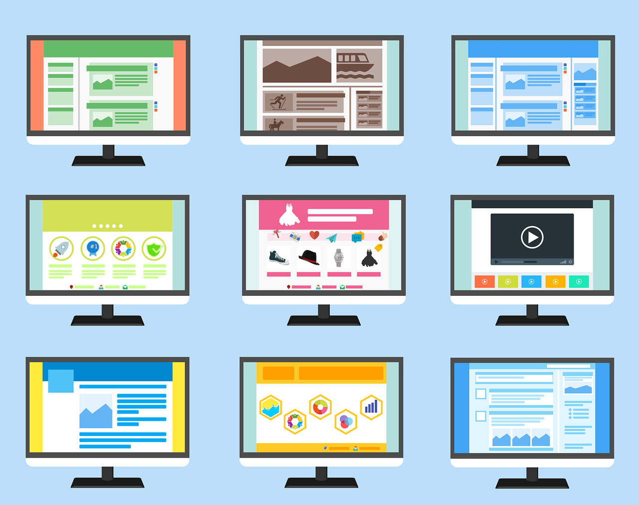 Distintos tipos de webs para distintos tipos de negocio